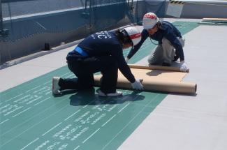 防護シートの敷設状況(オプション)