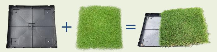 トレイ,芝付きウレタンマットの完成品をお送りいたします。